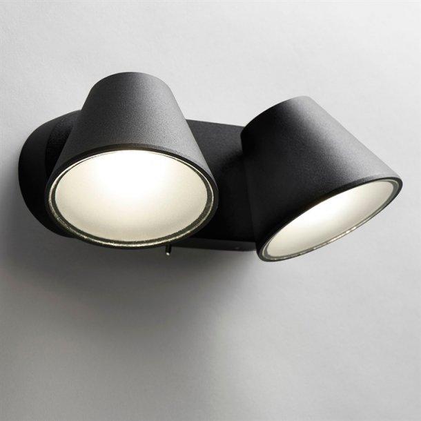 Cup 2 væglampe hvid/sort