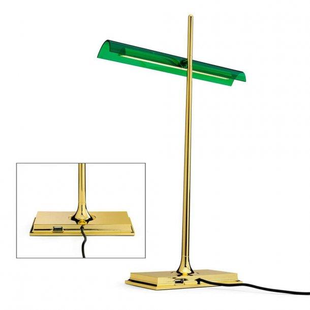 Goldman LED USB Bordlampe messing/grøn